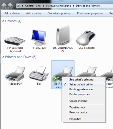 View of devices and printers, which will vary widely