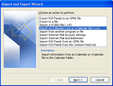 Import wizard, select Import from an iCalendar
