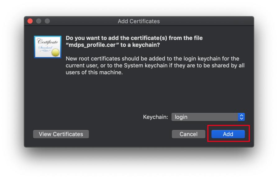Add certificate pop up