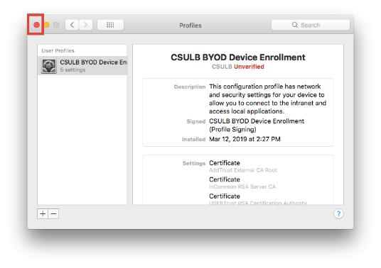 CSULB BYOD Device Enrollment Profile window