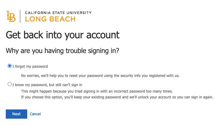 Password service window showing I forgot my password