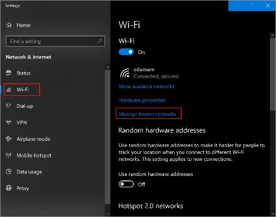"""wifi """"Manage known networks"""" window"""