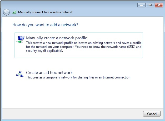 Manually connect to network