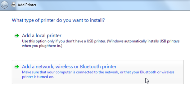 Add printer dialog with Add a Network, wireless or Bluetooth printer selected