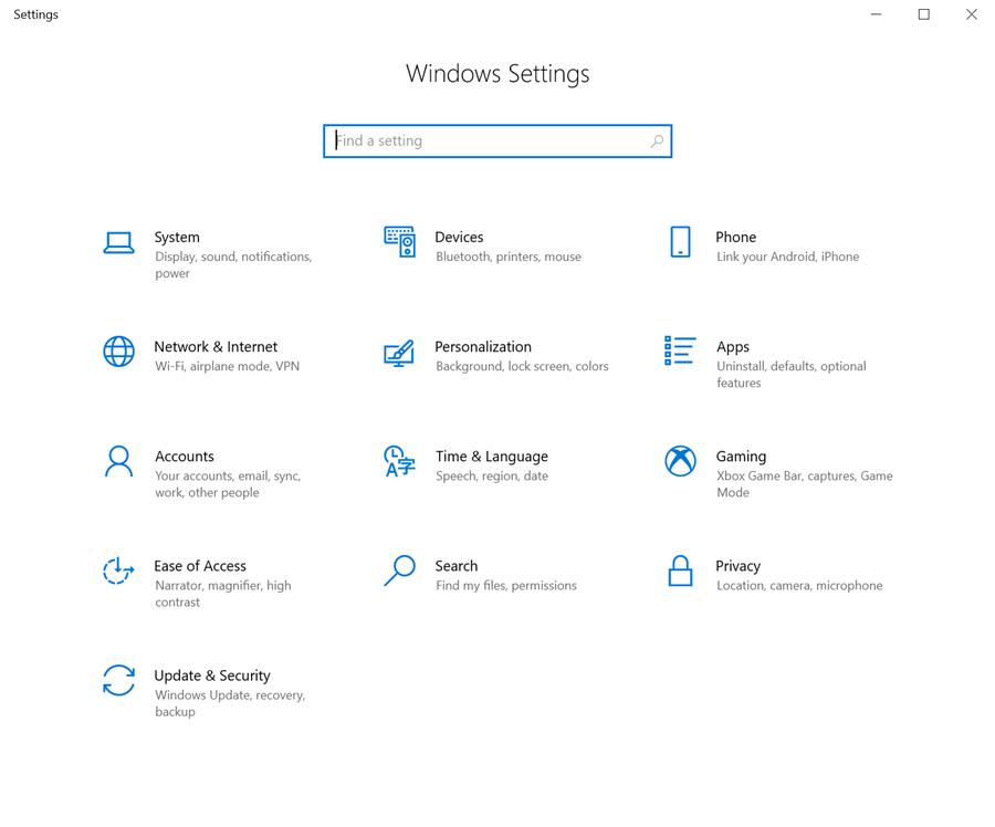 Windows Setting tab