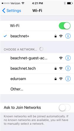 Wifi Network settings