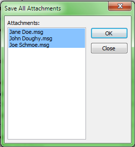 Save all attachments dialog window