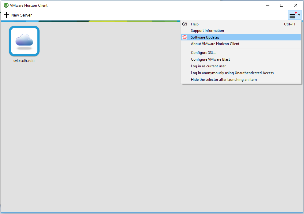 Image 1: VMware Horizon Client view of the server you are logged into showing the red dot in the upper-right corner menu
