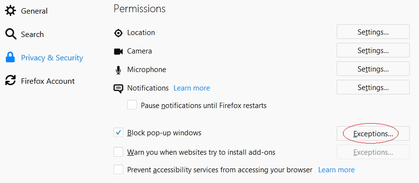 Firefox Privacy and Security Menu