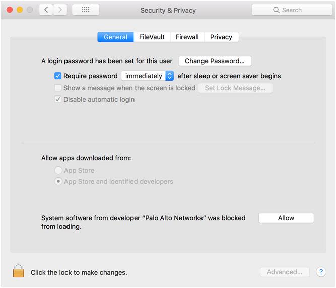 Macintosh security blocking application