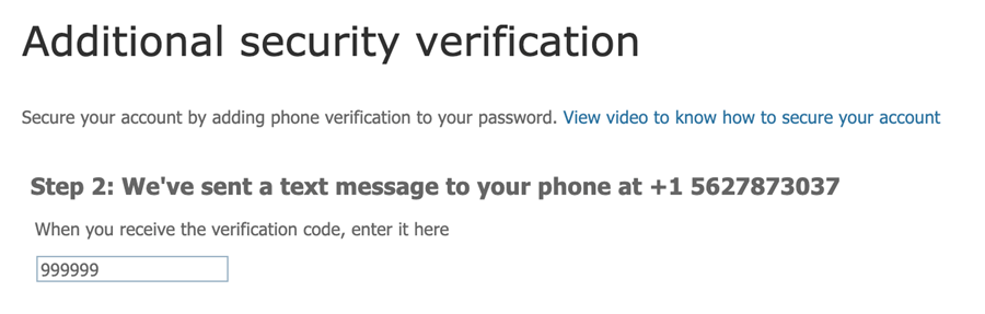 Additional security verification window asking for the verification code sent as a text message
