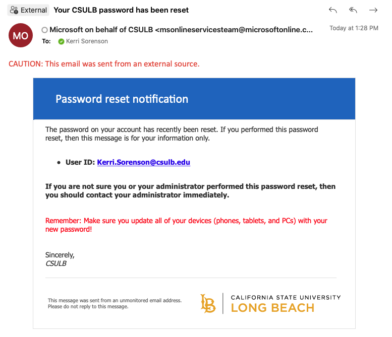 Confirmation email for password reset