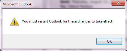 Microsoft Message stating user must restart Outlook screen