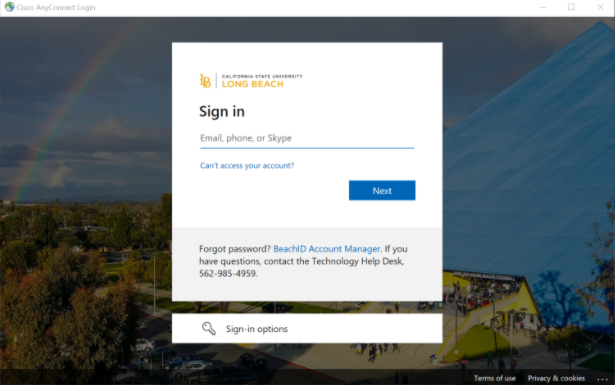 SSO sign in page