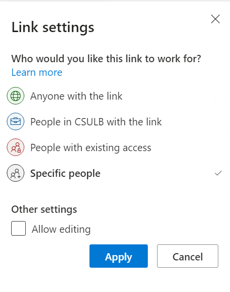 link settings pop up for sharing the link