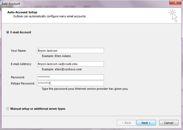 Add Account Screen where users enter username, email address, and password information