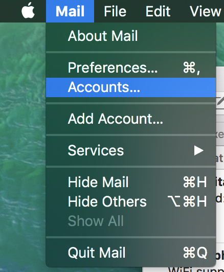 Screenshot of Accounts in Mac Mail