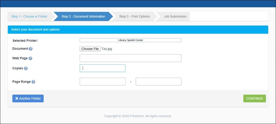PrinterOn Step 2 - Selecting your file to print
