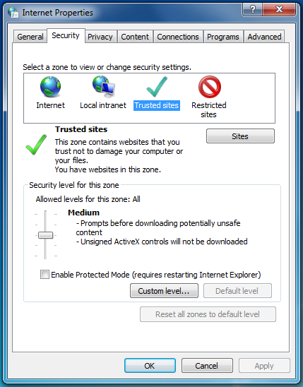 Chrome Internet Properties and Security Settings