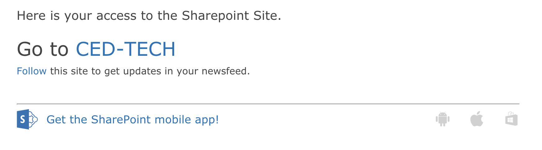 Screenshot of a sample SharePoint Email with access information