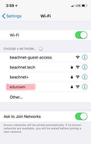 iPhone Wifi options