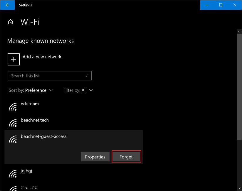 Wifi manage known networks window