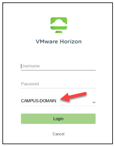 VMware Horizon client configuration screen showing domain as campus-domain