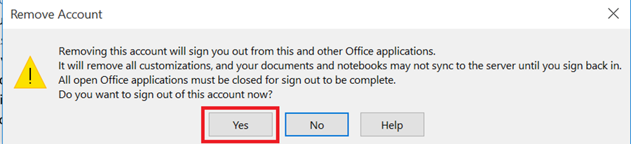 "Remove Account dialog box says: ""Removing this account will sign you out from this and other Office applications.  It will remove all customizations, and your documents and notebooks may not sync to the server until you sign back in. All open Office applications must be closed for sign out to be complete.  Do you want to sign out of this account now?"