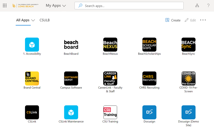 Preview of the new Microsoft My Apps landing page showing sample CSULB software applications