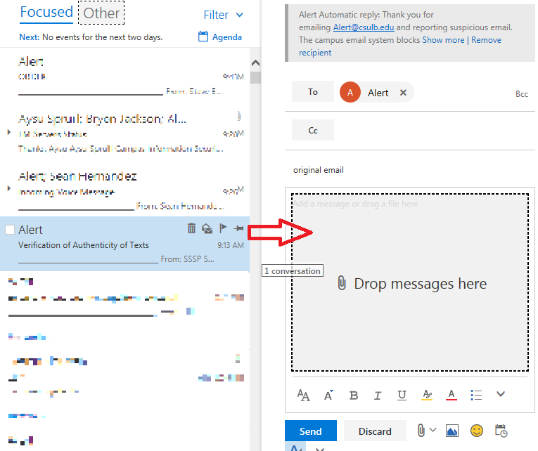 image showing how to drag email to the body of a new email