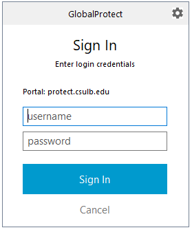 Global Protect login box