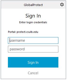 Global Protect login box