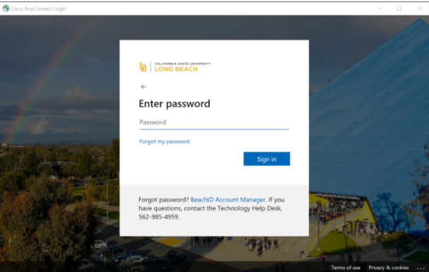SSO enter password page
