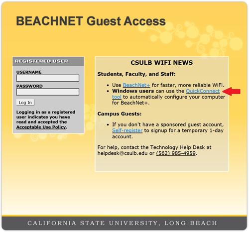 beachnet guest access portal page