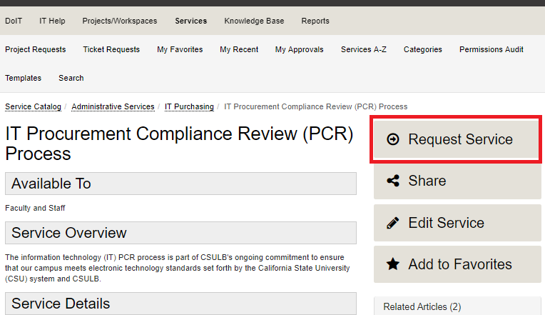 IT Procurement Compliance Review (PCR) Process service page showing the Request Service button